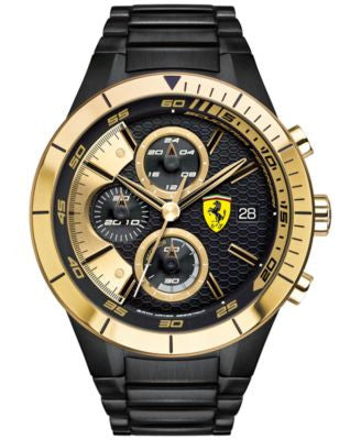 Scuderia Ferrari Men's Chronograph RedRev Evo Black Ion-Plated Stainless Steel Bracelet Watch 46mm 0