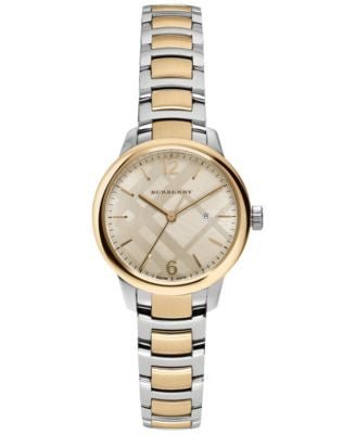 Burberry Women's Swiss The Classic Round Two-Tone Stainless Steel Bracelet Timepiece 32mm BU10118