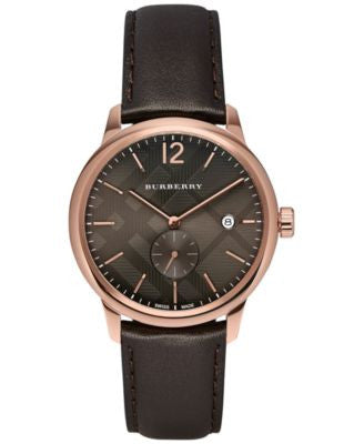 Burberry Men's Swiss The Classic Round Dark Brown Leather Strap Timepiece 40mm BU10012