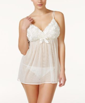 Flora by Flora Nikrooz Plus Size Bellflower Sheer Babydoll Chemise