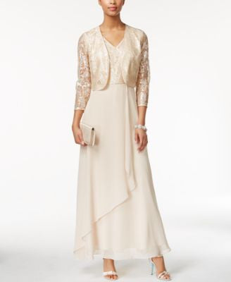 Tahari ASL Sequined Lace Gown and Jacket