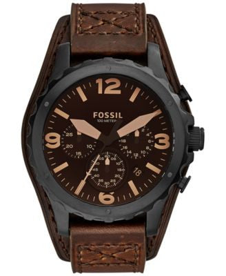 Fossil Men's Chronograph Nate Dark Brown Leather Strap Watch 46mm JR1511
