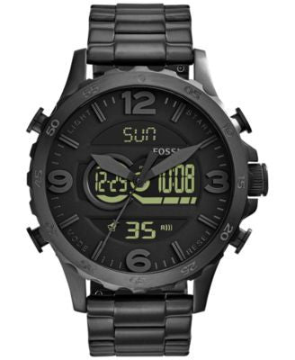 Fossil Men's Analog-Digital Nate Black Ion-Plated Stainless Steel Bracelet Watch 50mm JR1507