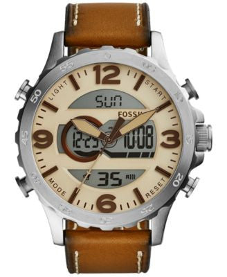 Fossil Men's Analog-Digital Nate Tan Leather Strap Watch 50mm JR1506