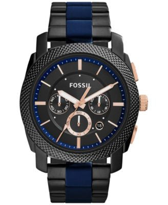 Fossil Men's Chronograph Machine Two-Tone Stainless Steel and Silicone Bracelet Watch 45mm FS5164
