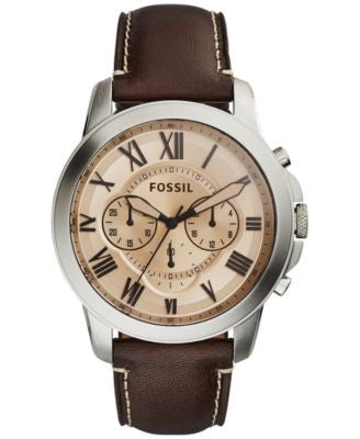 Fossil Men's Chronograph Grant Dark Brown Leather Strap Watch 44mm FS5152