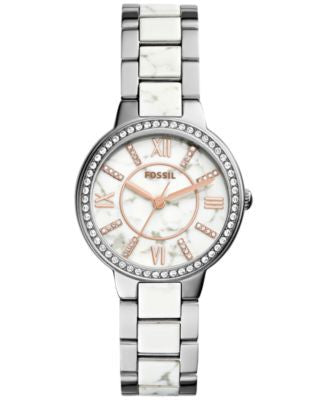Fossil Women's Virginia Crystal Accented Two-Tone Stainless Steel Bracelet Watch 30mm ES3962