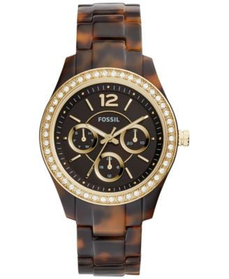 Fossil Women's Stella Crystal Accented Tortoise-Look Bracelet Watch 38mm ES3814