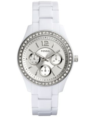 Fossil Women's Stella Crystal Accented White Bracelet Watch 38mm ES3813