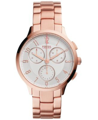 Fossil Women's Chronograph Abilene Rose Gold-Tone Stainless Steel Bracelet Watch 34mm CH3018