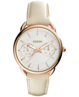 Fossil Women's Tailor White Leather Strap Watch 35mm ES3954