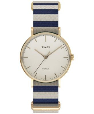Timex Women's Weekender Fairfield Blue and White Nylon Strap Watch 48mm TW2P91900JT