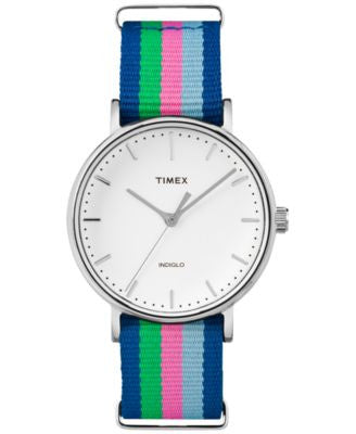 Timex Women's Weekender Fairfield Multi-Color Nylon Strap Watch 46mm TW2P91700JT
