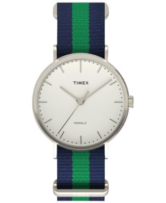 Timex Unisex Weekender Fairfield Blue and Green Striped Nylon Strap Watch 44mm TW2P90800JT