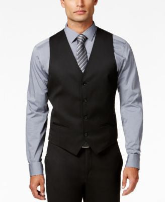 Alfani Men's Traveler Black Solid Slim-Fit Vest, Only at Vogily