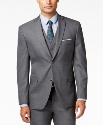 Alfani Traveler Men's Grey Solid Slim-Fit Suit Jacket, Only at Vogily