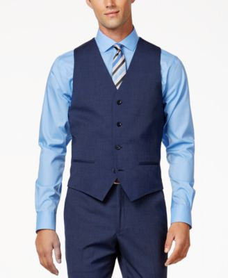 Alfani Men's Traveler Medium Blue Solid Slim-Fit Vest, Only at Vogily