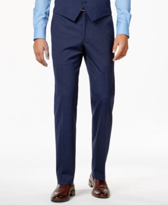 Alfani Men's Traveler Medium Blue Solid Slim-Fit Pants, Only at Vogily