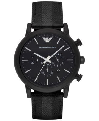 Emporio Armani Men's Chronograph Luigi Black Leather Backed Nylon Strap Watch 46mm AR1948