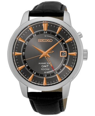 Seiko Men's Automatic Kinetic GMT Black Leather Strap Watch 44mm SUN063