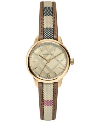 Burberry Women's Swiss The Classic Round Multi-Color Fabric Strap Timepiece 32mm BU10114