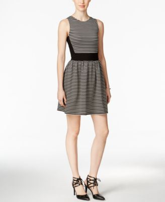 Bar III Striped Fit & Flare Dress, Only at Vogily