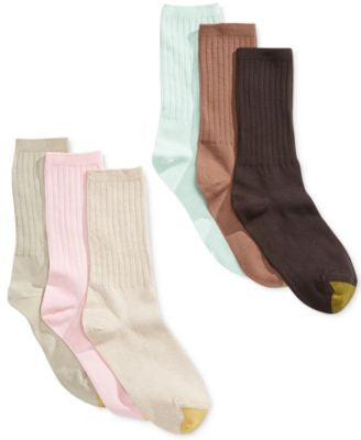 Gold Toe Women's Ribbed Crew Socks 6 Pack