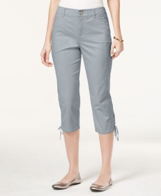 Style & Co. Petite Tummy-Control Lace-Up Capri Pants, Only at Vogily