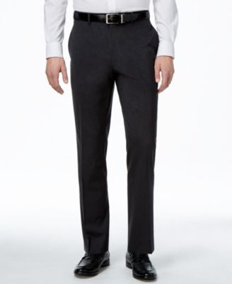 Alfani Men's Traveler Charcoal Solid Classic-Fit Pants, Only at Vogily