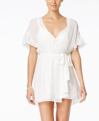 Flora by Flora Nikrooz Charlotte Floral-Trim Chiffon Chemise & Wrap Robe Sleep Separates
