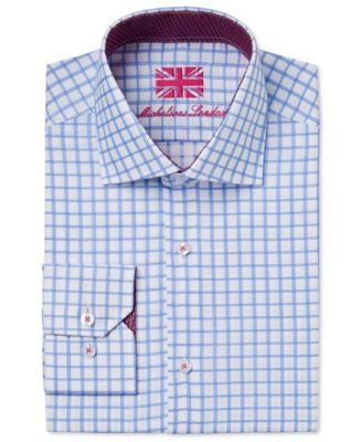 Michelsons of London Men's Slim-Fit Light Blue Dobby Check Dress Shirt