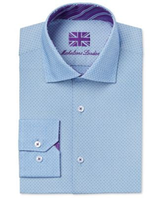 Michelsons of London Men's Slim-Fit Sky Blue Dobby Dress Shirt