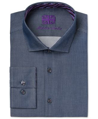 Michelsons of London Men's Slim-Fit Graphite Dobby Dress Shirt