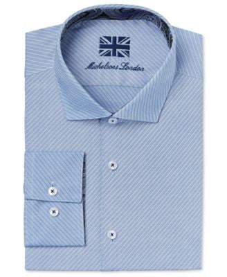 Michelsons of London Men's Slim-Fit Light Blue Dobby Dress Shirt