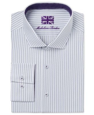 Michelsons of London Men's Slim-Fit White Dobby Stripe Dress Shirt