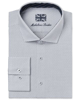 Michelsons of London Men's Slim-Fit White Allover Dobby Dress Shirt