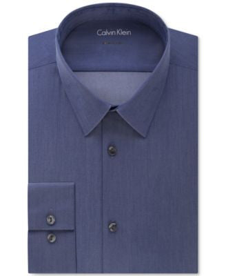 Calvin Klein X Extra Slim-Fit Stretch Navy Chambray Solid Dress Shirt