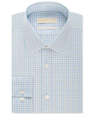 MICHAEL Michael Kors Men's Classic-Fit Non-Iron Green Multi Check Dress Shirt
