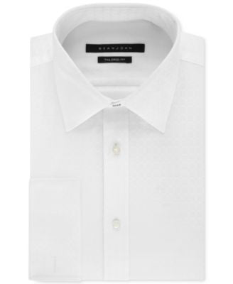Sean John Men's Big and Tall White Textured Solid French Cuff Dress Shirt
