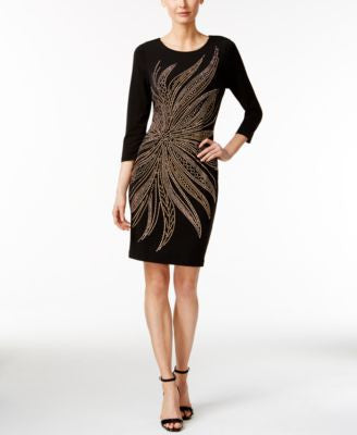 Calvin Klein Three-Quarter-Sleeve Studded Bodycon Dress