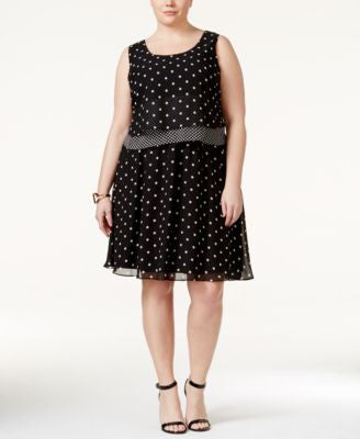 SL Fashions Plus Size Polka-Dot Popover Dress