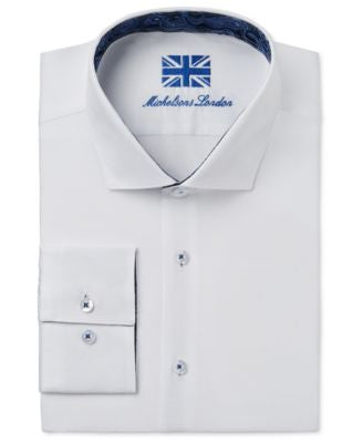 Michelsons of London Men's Slim-Fit White Solid Dress Shirt