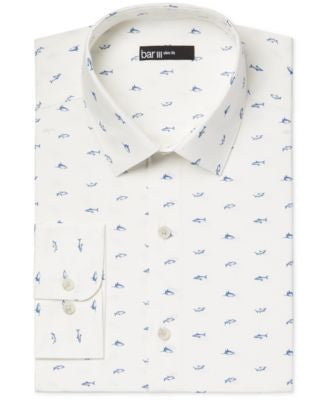 Bar III Slim-Fit Shark Print Dress Shirt, Only at Vogily