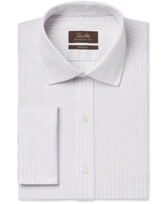 Tasso Elba Non-Iron Tan Stripe French Cuff Dress Shirt, Only at Vogily