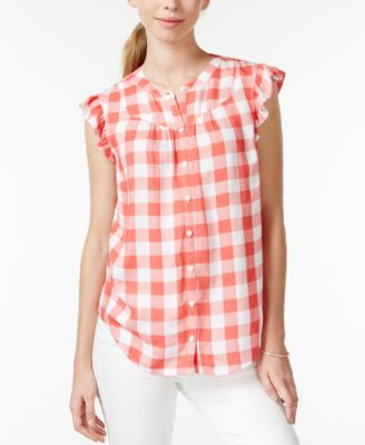Maison Jules Gingham Flutter-Sleeve Top, Only at Vogily