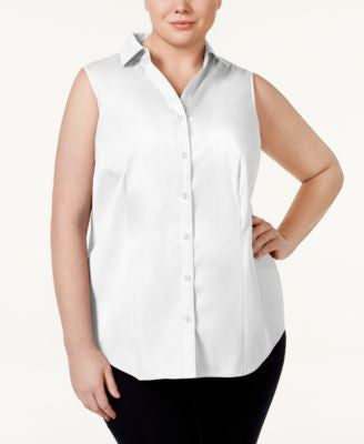 Charter Club Plus Size Sleeveless Shirt, Only at Vogily