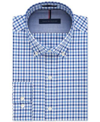 Tommy Hilfiger Big and Tall Non-Iron Blue Dawn Check Dress Shirt