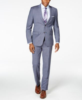 Lauren Ralph Lauren Men's Big & Tall Slim-Fit Light Blue Plaid Suit