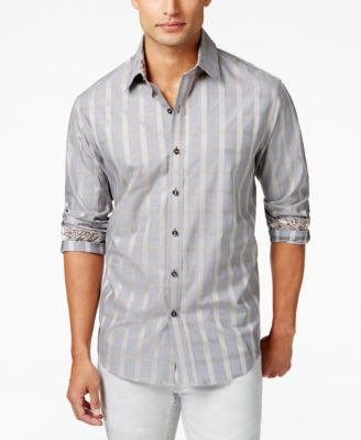 Tasso Elba Men's Grid-Print Long-Sleeve Shirt, Only at Vogily