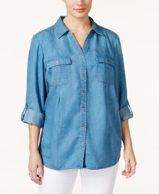 Style & Co. Plus Size Denim Button-Down Shirt, Only at Vogily